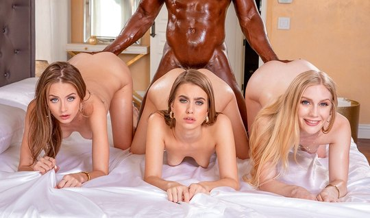 Three young beauty fills pussy pose a cancer for a foursome with a bla...