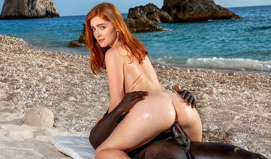Ebony in nature gets on a cock redhead beauty and brings her to orgasm...