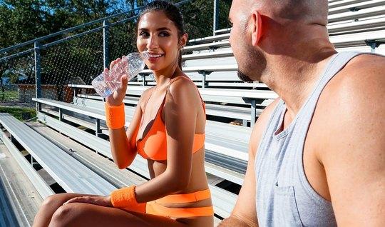 Brunette after a workout, making love, I got a coach...