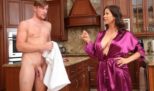 Mature mom with big milkings spread her legs for sex with young stepso...