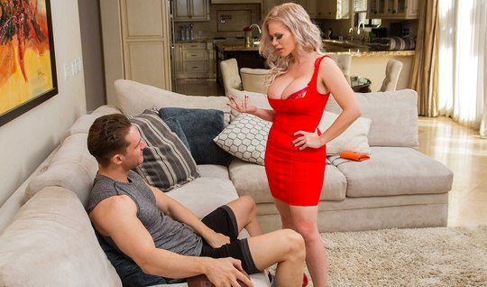 Blonde with big milkings took a red dress and had sex...