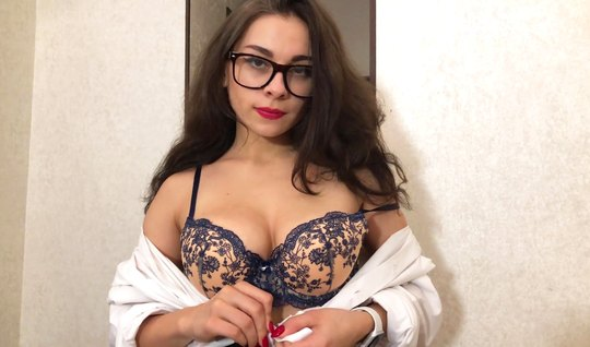 Bespectacled Russian brunette Fucks with guy for homemade porn...