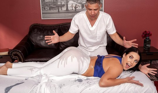 Wife during the massage, the tights are pulled up and held up a big as...