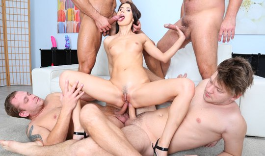 Four guys give beautiful anal sex with double penetration...