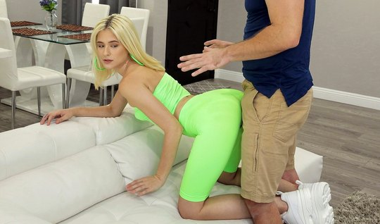Blonde in tights pose a cancer peddles her pussy to love...