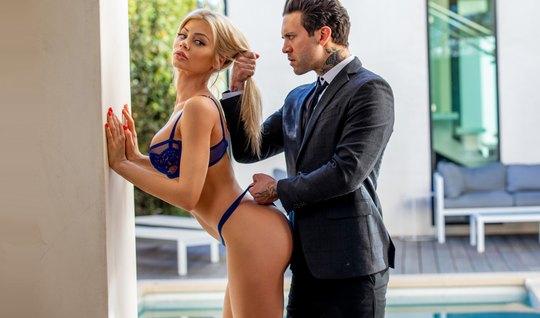 Slender blonde after Blowjob, gets orgasm during vaginal with her love...