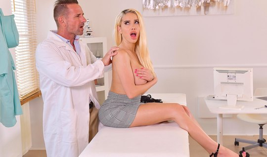 Blonde with big milkings in the doctors office cums from passionate fu...