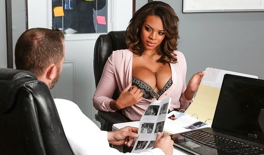 Tattooed mulatto with big milkings right in the office fucking with a ...