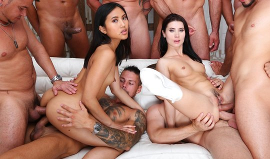 Asian and brunette participate in an Orgy with double penetration...