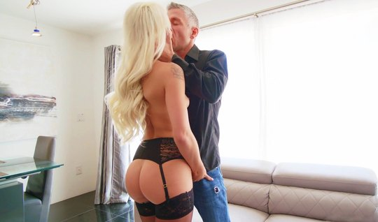 Blonde in stockings rides pussy on a hard dick guy and cums