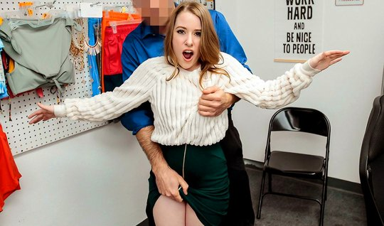The young woman in the office jumps on the member of the guard and cum...