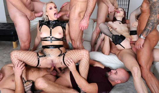 The guys invited the slut for a group Orgy with double penetration