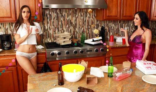 Two milfs lesbians in the kitchen fucking each other not only handles...