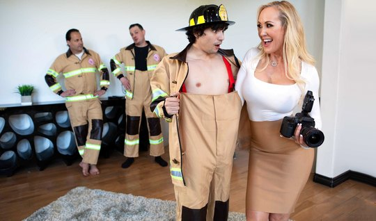 Mama dont mind hot fucking with a excited member of the fireman