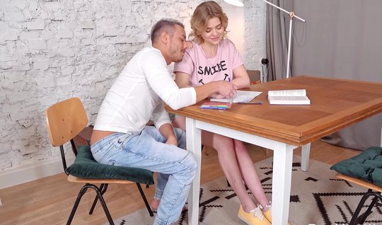 Russian girl on the table felt elation during sex with a man...