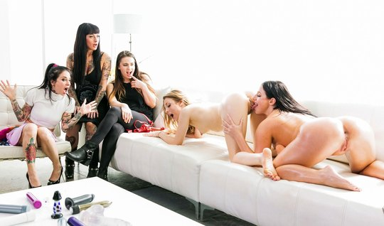 Lesbian Orgy gives beautiful women the chance to cum from handjob and ...