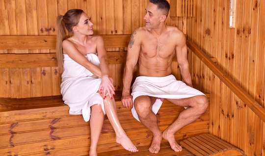 Girlfriend with big milkings Fucks with guy in sauna and cum...