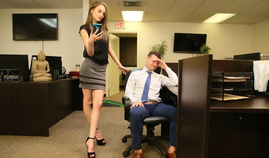 Skinny girl in the office spreads her slim legs for vaginal with a fri...