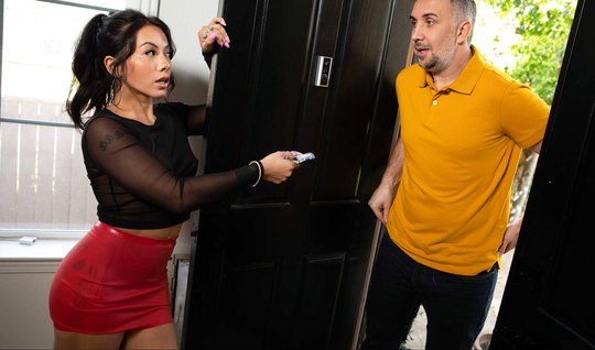 Brunette was invited to a home of a neighbor and had sex with him, hav...