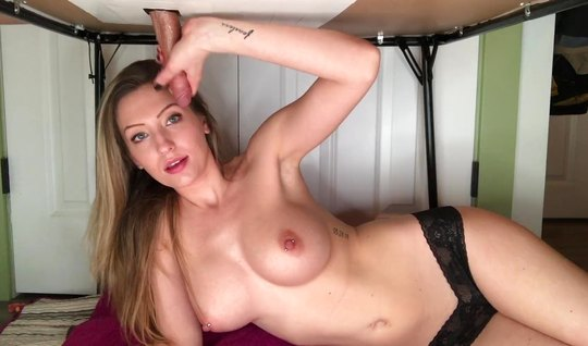 Young girl in stockings jerks off dick friend and makes him a Blowjob...