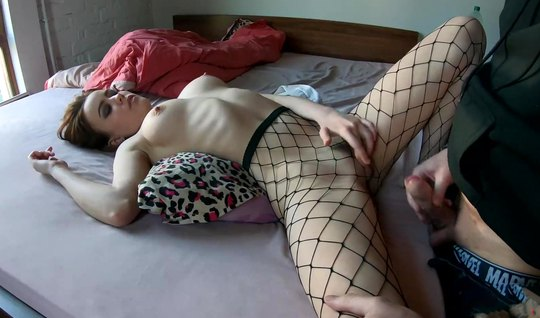 Russian young girl in stockings showed the guy super homemade porn...