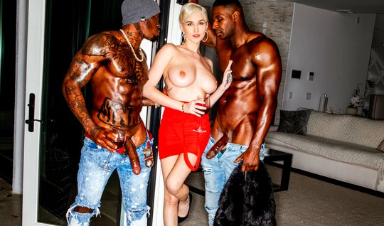 Blonde gets two blacks, group sex and much orgasm...