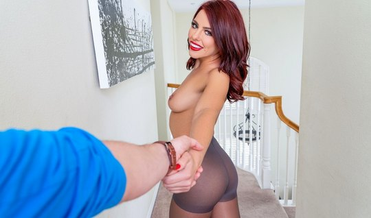 Girl in stockings spreads her slim legs for sex in the first person...