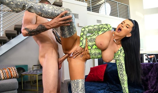 Brunette in a green sweater showed large knockers and gets fucked in d...