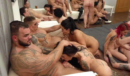 Tattooed guys invited friends for a real Orgy on video camera...