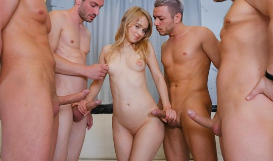 Skinny Russian young woman involved in an Orgy and gets double penetra...
