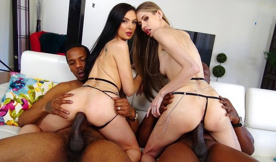 Tattooed mistress on a white sofa spread her legs for group anal with ...