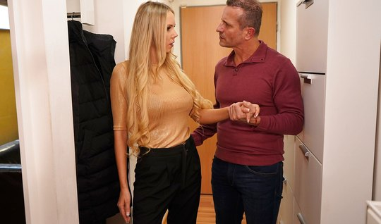 Blonde with big milkings agreed to come to the Director of the home fo...