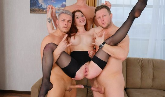 Two brothers-Kachka torn pantyhose on redhead and fuck in anal and the...