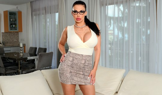 Glamor with glasses got a job, showing big milkings to the boss and gi...