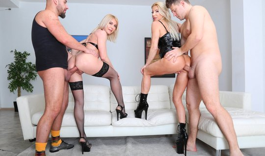 Two blondes took part in group sex with double penetration...