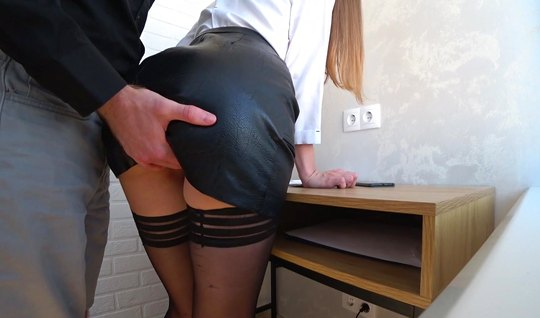 The girl lifted her legs in stockings and gave the guy the opportunity...