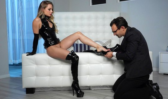 Girl in latex dominates man in black suit...