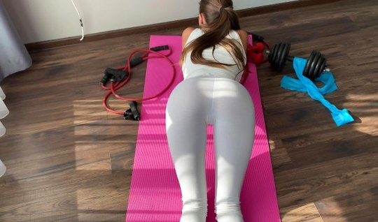 A skinny fit girl takes off her white leggings and takes a big dick of...