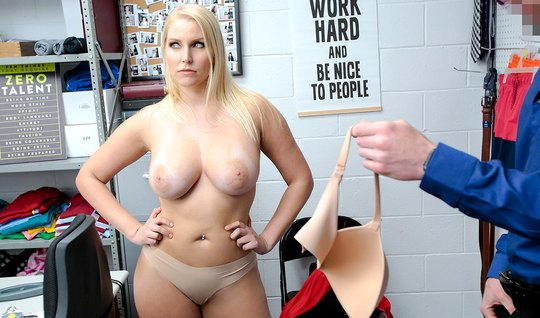 The security guard in the office put a mature blonde in a red dress do...