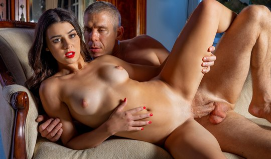 A gray-haired lover seduced a brunette friend of her son and fucked in...
