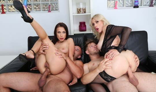 Guys called for a group sex with double penetration of vulgar mistress...