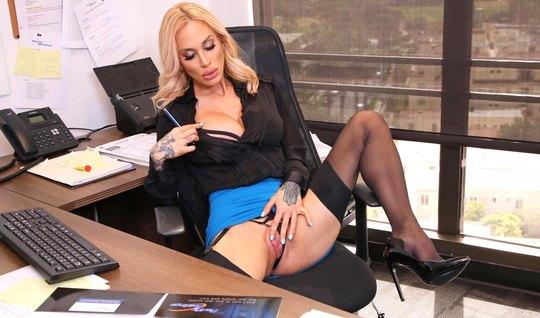 Tattooed secretary in the office in stockings fucks bearded director