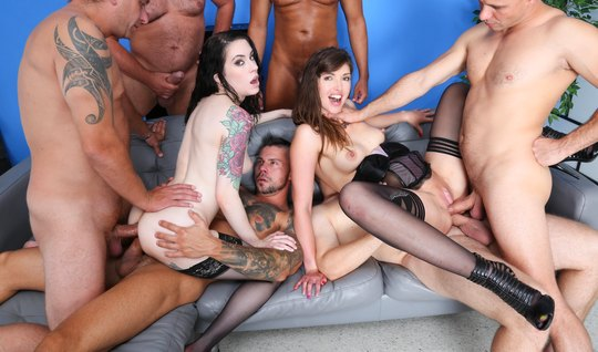 The football team arranged an anal group sex with two beauties in stoc...