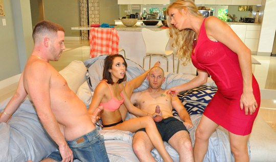 Moms swap dicky husbands and fuck up a swinger orgy on a big couch...