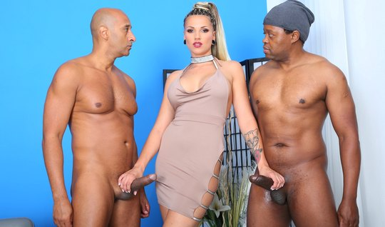 Two blacks hard penetrate all holes of a beautiful mistress and finish