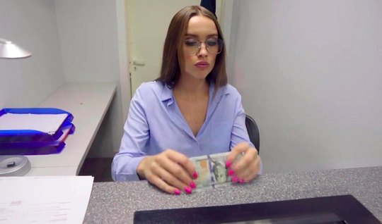 Russian bank employee in the first person crawls her vagina at work on...