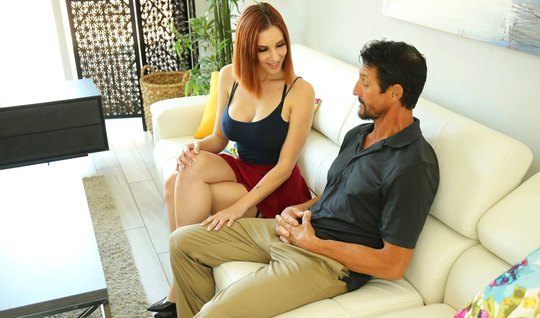 The redhead showed her neighbor's husband big milkings and took hi...