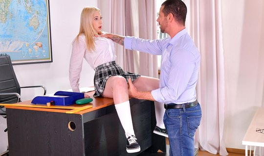 Teacher fucked blonde student with a hard cock in the office and cum o...