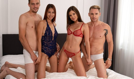 Two swingers swapped wives and the whole gangbang moaned with pleasure...