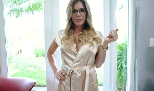 Mom in glasses from the first person takes a big juicy cock on the che...